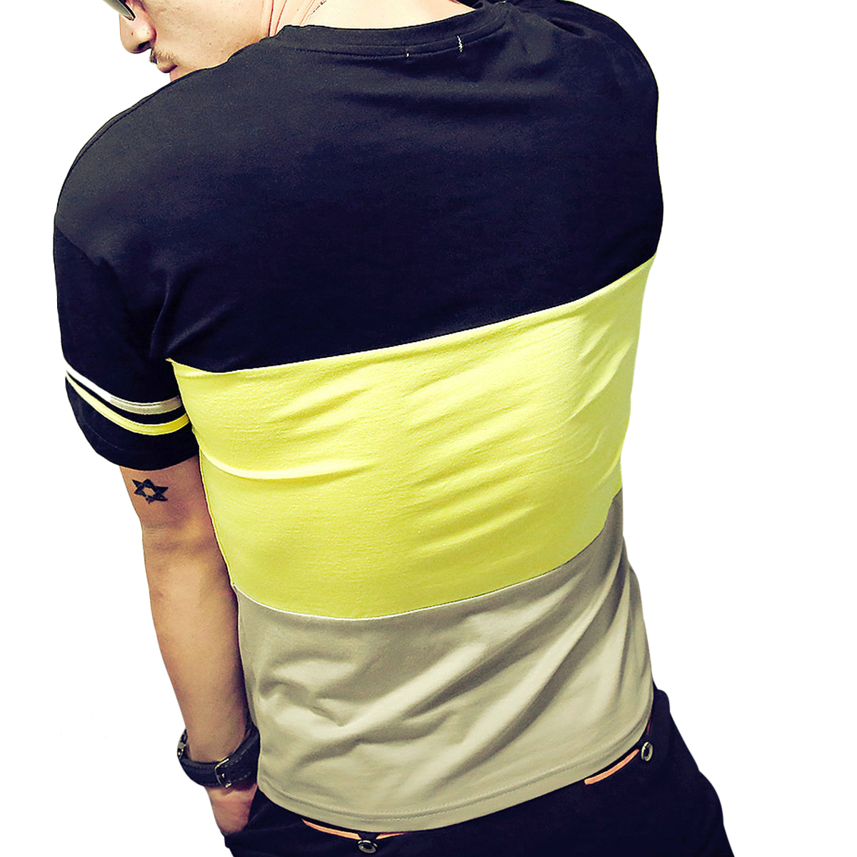 7a344a64d011 Logeeyar Mens Cotton Fitted Short-Sleeve Contrast Color Stitching T-Shirt